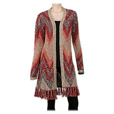Natural Reflections Fringed Cardigan for Ladies