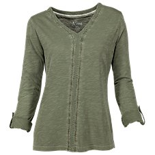 Natural Reflections Ladder Lace V-Neck Top for Ladies