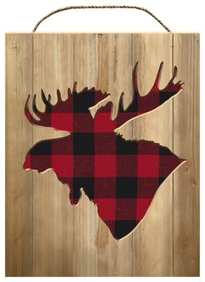 Moose Wall Decor reflective art buffalo plaid moose silhouette wood wall decor