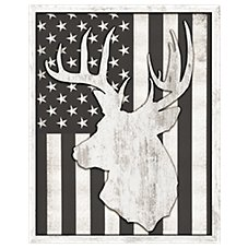 Reflective Art Whitetail Buck with Flag Background Framed Silhouette