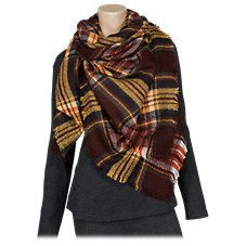 Quagga Chestnut Plaid Square Scarf for Ladies