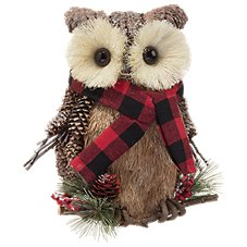 Bass Pro Shops Pinecone/Straw Owl with Hat and Knitted Scarf Tabletop Decor