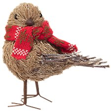 Bass Pro Shops Straw Bird with Knitted Scarf Tabletop Decor
