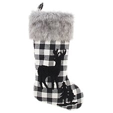 Bass Pro Shops Black and White Buffalo Plaid Deer Christmas Stocking