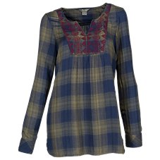 Natural Reflections Embroidered Plaid Tunic for Ladies