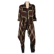 Natural Reflections Plaid Fringe Cardigan for Ladies