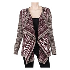 Natural Reflections Mixed Knit Open Front Cardigan for Ladies