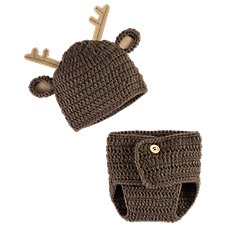 Bass Pro Shops Crochet Deer Hat and Diaper Cover Set for Babies