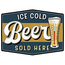 Open Road Brands Ice Cold Beer Thermometer Sign