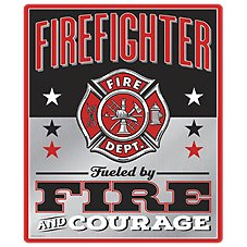 Open Road Brands Firefighter Die-Cut Embossed Tin Sign