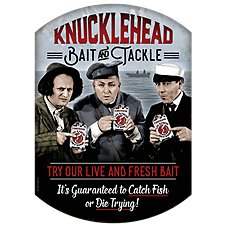 Open Road Brands Knucklehead Bait and Tackle Die-Cut Embossed Tin Sign