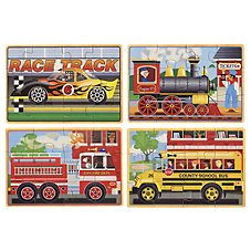 Melissa & Doug Vehicles Jigsaw Puzzles in a Wooden Box