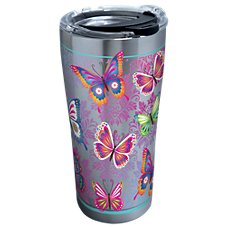 Tervis Tumbler Butterfly Motif Stainless Steel Tumbler with Clear Lid
