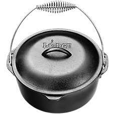 Lodge Logic Cast-Iron Dutch Oven with Spiral Bail and Iron Lid