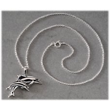 Kabana Jewelry Sterling Silver Necklace with Double Dolphin Pendant