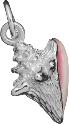 Sterling Silver Conch Shell Charm with Pink Enamel Accent