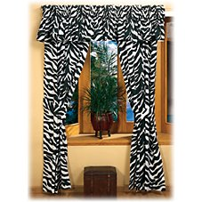 Zebra Black/White Collection Rod Pocket Drapes or Valance