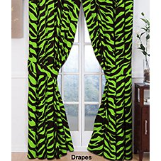 Zebra Lime Green Collection Rod Pocket Drapes or Valance