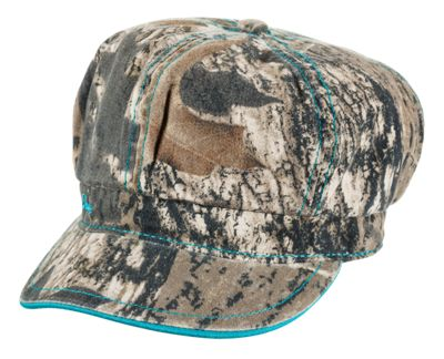 Bass Pro Shops Mossy Oak Camo Cabbie Cap for Girls - Mossy Oak Break-Up/Teal thumbnail