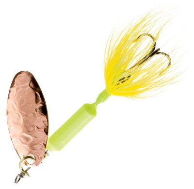 Worden's Original Rooster Tail 1/4 oz. Lure – Hammered Copper Fluorescent Chartreuse