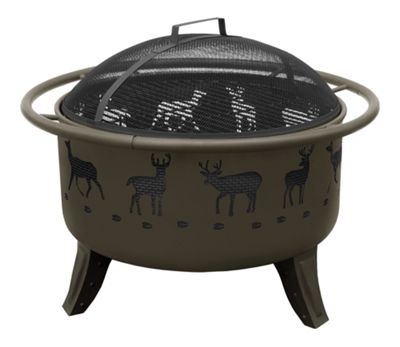 Landmann USA Patio Lights Fire Pit with Cooking Grate - Deer and Tracks