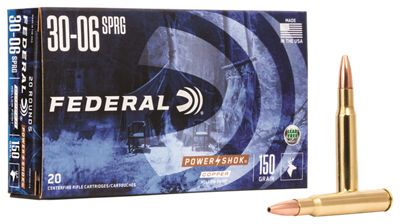 Federal Premium Power-Shok Centerfire Rifle Ammo – .30-06 Springfield – 150 Grain