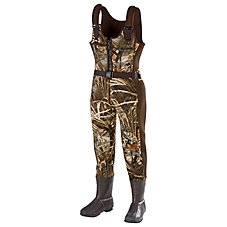SHE Outdoor Waterfowl Boot-Foot Insulated Waders for Ladies - Realtree MAX-4