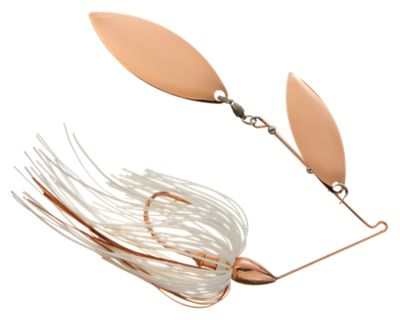 War Eagle Double Willow Spinnerbaits – 1/4 oz. – Copper Frame – White
