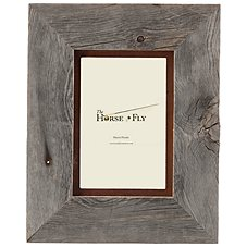 Barnwood Picture Frame with Rusted Metal Mat