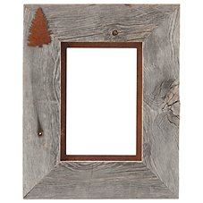 Tree 1-Image Barnwood Picture Frame with Rusted Metal Mat - Landscape or Portrait