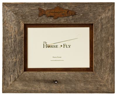 Fish 1-Image Barnwood Picture Frame with Rusted Metal Mat ...