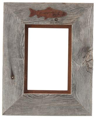 """Image of """"""""""""Fish 1-Image Barnwood Picture Frame with Rusted Metal Mat - 5"""""""""""""""" x 7"""""""""""""""" Portrait"""""""""""""""