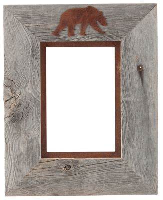 "Image of """"""Bear 1-Image Barnwood Picture Frame with Rusted Metal Mat - 5"""""""" x 7"""""""" Portrait"""""""