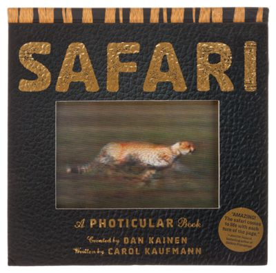 """""""Features never-before-seen Photicular technology Each image isike a 3-D movieearn about eight animals through images, essays, and facts Includes history of safaris HardbackSafari, A Photicular Book created by Dan Kainen and written by Carol Kau"""""""