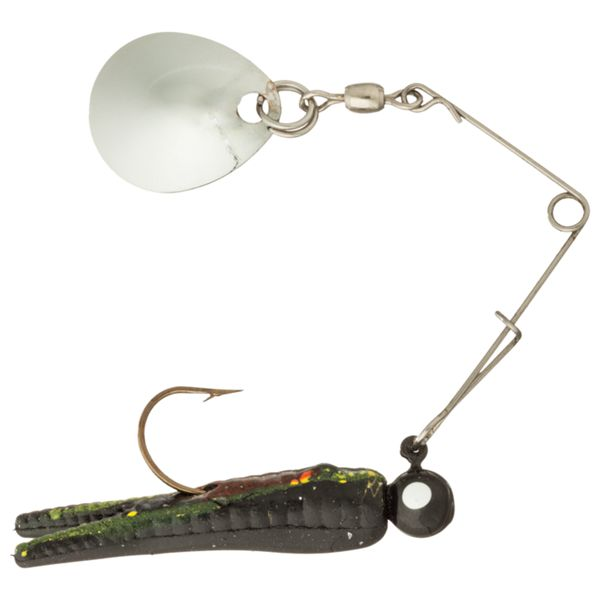 Bass Pro Shops Crappie Maxx Split Tail Minnow Spin - 1-1/2' - Black Yellow Stripe Red Belly