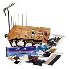 White River Fly Shop WR-Emerger Fly Tying Bench with Vise, Tools, and Material Kit