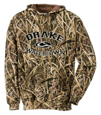 Image of Drake Waterfowl System Embroidered Camo Hoodie for Men  Mossy Oak Shadow Grass Blades  XL
