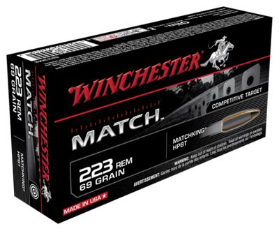 Winchester Match Target Centerfire Rifle Ammo – .223 Remington – 69 Grain