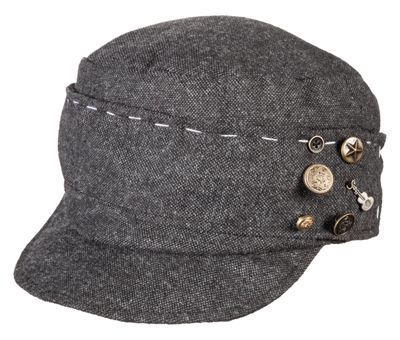 Scala Tweed Cadet Cap with Charms for Ladies - Black