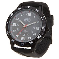 Bass Pro Shops Angler Black Rubber Strap Dive Watch for Men