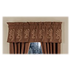 Browning Buckmark Embroidered Suede Drapes or Valance