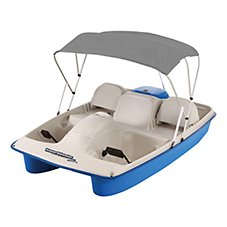 Sun Dolphin Water Wheeler 5-Seat Electric Pedal Boat with Canopy