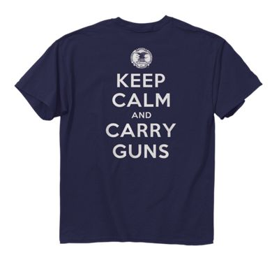 NRA Keep Calm and Carry Guns T-Shirt for Men - Navy - M