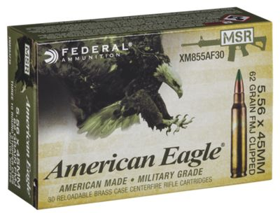 Federal American Eagle AR 5.56/.223 Centerfire Rifle Ammo – Full Metal Jacket – 62 Grain – 150 Rounds