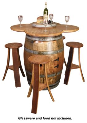 Napa East Collection Wine Barrel Table Set W Cabinet Base
