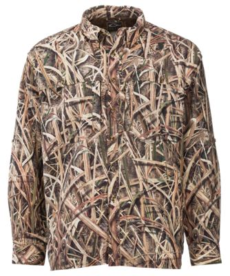 Drake Waterfowl EST Vented Wingshooter's Long Sleeve Shirt for Men – Mossy Oak Shadow Grass Blades – L