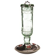Perky-Pet Antique Green Bottle Hummingbird Feeder