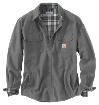 Carhartt Mens Weathered Canvas Snap Front Shirt Jacket