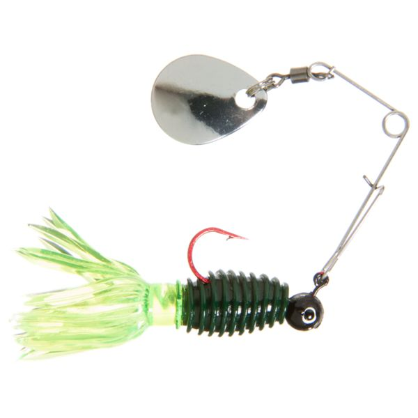 Bass Pro Shops Uncle Buck's Panfish Creatures Humbug with Spinner- Black Chartreuse