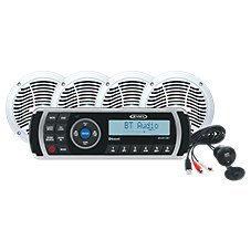 Jensen MS2A AM/FM/USB Bluetooth & AppReady Waterproof Stereo with Bluetooth, Jenaux Input Jack, and Four 6.5'' Speakers